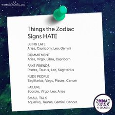 Astrology – Horoscope Quotes : Picture Description Things The Zodiac Signs Hate – themindsjournal.c…