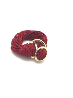 Attimi Handmade Jewelry Costa Rican Unique Soft Cotton Fashion Bracelet With European Gold Plated Metal Clasp Divinite For Gifts Accesories and More Handcrafted Dark Red Extra Small