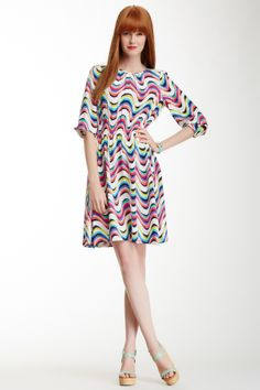 giverny geometric silk blend dress