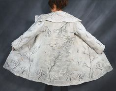 Hand felted white winter wool coat. #handmade