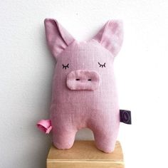 PIG plushie soft toy linen doll stuffed animal by BILLOOboutique