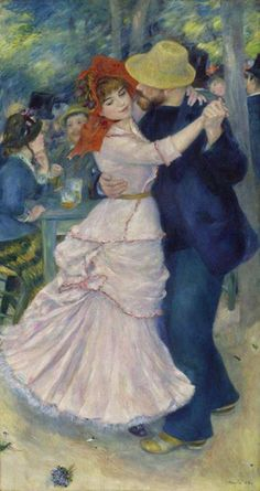 """""""Dance at Bougival"""" (1883) By Pierre-Auguste Renoir, from Limoges, France (1841 - 1919) oil on canvas; 181.9 x 98.1 cm; 71 5/8 x 38 5/8 in"""