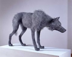 """asylum-art: """" Kendra Haste creates the most incredible, life-like animal scultpures using layers of painted galvanized wire atop steel armature.Kendra Haste is a contemporary animal sculptor who uses. Sculptures Sur Fil, Animal Sculptures, Wire Sculptures, Chicken Wire Art, Wolf Sculpture, Grandeur Nature, Wolf Painting, Photomontage, Caricatures"""