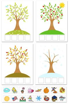cute printable with icons to sort for each of the seasons, with activity ideas