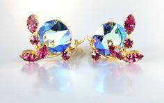 Juliana D&E rhinestone Earrings Violet Blue Pink by RMSjewels #vogueteam #etsygiftideas #vintagejewelry