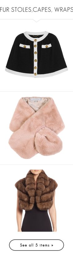 """""""FUR STOLES,CAPES, WRAPS"""" by kareng-357 ❤ liked on Polyvore featuring outerwear, jackets, black, wool blend cape coat, wool blend cape, moschino, cape coat, accessories, scarves and pink scarves"""