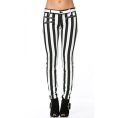 Stripped Zipper Pocket Skinny Jeans in Black and White ($35) ❤ liked on Polyvore