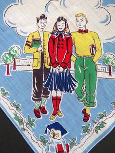 1950s Back to School Handkerchief - Teenagers Studying School Books Owls Hanky - SOLD AS IS - Teenage Boys Girls Novelty Handkerchief Crafts