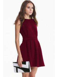 robe avec plissé dos dénudé sans manche -French SheIn(Sheinside)