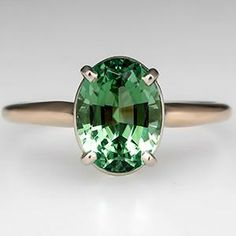Vintage Green Tourmaline Engagement Ring 14K Gold