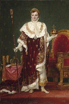 El Emperador Napoleón en una actitud de plácida majestad, observando a sus pueblos. De pie junto al trono imperial, ha posado la corona de Carlomagno y la Mano de Justicia, « vara de la virtud y de la verdad », para tomar el globo, símbolo del mundo, coronado por la cruz del rey San Luis. « Está bien, está muy bien, David. Habéis adivinado todo mi pensamiento. Me habéis hecho un caballero francés », dirá el soberano a su pintor oficial. Óleo de Jacques-Louis David (1748-1825).