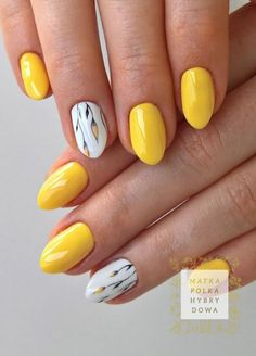Nails, nail designs и acrylic nails. Yellow Nails Design, Yellow Nail Art, Nail Designs Spring, Nail Art Designs, Manicure E Pedicure, Cute Nail Art, Super Nails, Flower Nails, French Nails