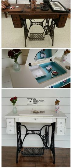 How to repurpose a singer sewing machine into a desk, table or makeup vanity. Lots of storage, very versatile piece of furniture for your home.
