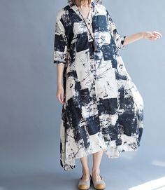 Cotton and linen Loose Fitting Long Maxi Dress oversize by MaLieb