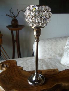 """Glass Crystal Candle Holders 12""""  Pedestal  with Round Top $17 each / 2 for $16 each"""