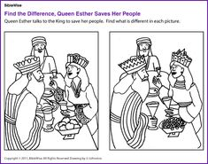 Find the Difference (Queen Esther)- Kids Korner - BibleWise Bible Crafts For Kids, Preschool Bible, Bible Lessons For Kids, Bible Activities, Sunday School Activities, Sunday School Lessons, Sunday School Crafts, Bible Heroes, Children's Church Crafts