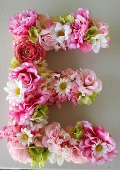DIY Floral Letter! Precut letter, flowers of your choice, hot glue, and cuteness!!