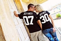 Cute engagement photo wedding. Ours would have to be Redwings shirts!