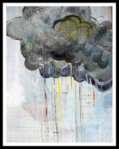 Custom Made Rain In Technicolor - Big Print In 8.5x11 Inches - Grey - Gray Cloud, Rainbow Raindrops