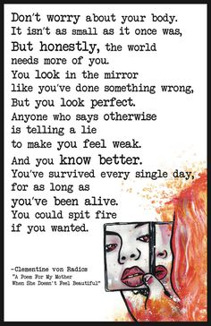 """Clementine von Radics, """"For My Mother When She Doesn't Feel Beautiful"""""""