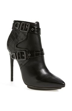 Free shipping and returns on BCBGMAXAZRIA 'Klasp' Bootie (Women) at Nordstrom.com. Flaunt your wild side with BCBGMAXAZRIA's striking stiletto-heeled Klasp bootie. Wrapped with croc-embossed belts and blackout buckles for a fierce and exotic edge, this pointy-toe platform style is sure to turn heads.