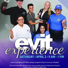 Are you or your friends still interested in a program at #EVIT? Sign up for the upcoming #EVITExperience! It's your chance to explore your favorite EVIT program at Main Campus. Sign up by clicking the link in our bio! #WeAreEVIT