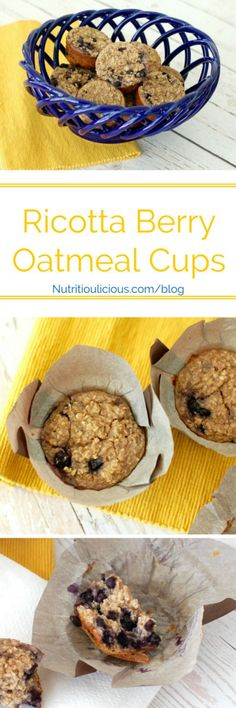 Ricotta Berry Oatmeal Cups recipe: Whole-grain oatmeal cups are studded with wild blueberries and full of low-fat dairy and warming spices. A good source of protein, fiber, and calcium, making them the perfect way to start the day! Healthy Snacks For Diabetics, Healthy Breakfast Recipes, Brunch Recipes, Breakfast Ideas, Power Breakfast, Brunch Dishes, Protein Snacks, Healthy Food, Healthy Recipes