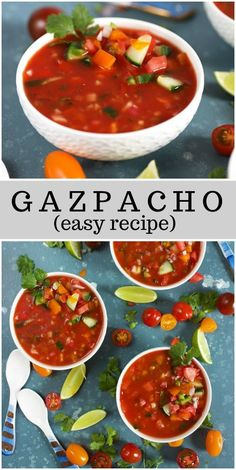 A no cook chilled tomato soup, this Easy Gazpacho recipe is like summer in a bowl. Mexican Food Recipes, Soup Recipes, Vegetarian Recipes, Dinner Recipes, Cooking Recipes, Healthy Recipes, Ethnic Recipes, Bean Recipes, Healthy Soup