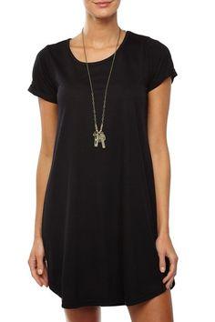 tina tshirt dress, BLACK