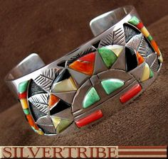 Genuine Sterling Silver Emerald Valley Turquoise Coral And Multicolor Inlay Whiterock Bracelet HS22960