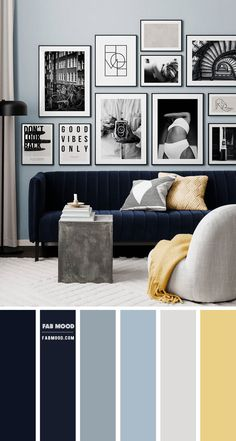 Modern Living Room Colors, Blue And Yellow Living Room, Blue Living Room Decor, Simple Living Room, Living Room Color Schemes, Blue Color Schemes, Blue Rooms, Living Room Designs, Grey Living Room Ideas Colour Palettes