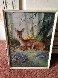 Vintage Vernon Ward Print in Original Frame ~ Woodland Portrait with Deer & Fawn in Art, Prints, Modern (1900-79) | eBay