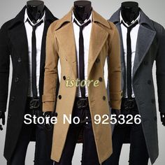 2013 Fashion Stylish Men's Trench Coat, Winter Jacket ,Double Breasted Coat ,Overcoat woolen Outerwear Long jaqueta M-XXXL 17345 $39.99 - 43.99