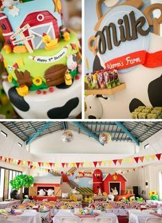 barn themed first birthday party for boy