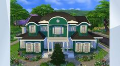 Check out this lot in The Sims 4 Gallery! - This 4 bedroom family home has a cosy American style architecture and decor. It has two bedrooms en suite, a baby room and a childs room. #4sims4 #Maxis #family #big #american #sims4master #vila #home