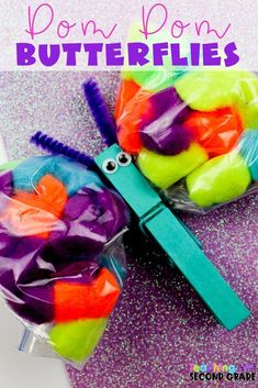This Pom Pom Butterflies Craft is great when spring hits. Butterflies signal spring and this craft will help bring the warmer weather even faster. Diy Arts And Crafts, Craft Stick Crafts, Easy Crafts, Spring Crafts For Kids, Summer Crafts, Classroom Crafts, Classroom Ideas, Teaching Second Grade, Pom Pom Crafts