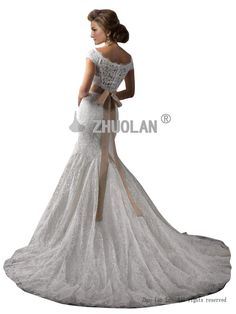 ZHUOLAN Ivory Scoop Mermaid Gown in Lace Wedding Dress 2