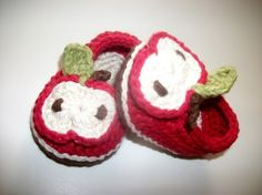 red and green / NEW Apple Orchard CollectionApple Hat and Booties by Happyhooks88