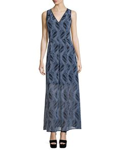 MICHAEL MICHAEL KORS Burrel A-Line Maxi Dress, New Navy. #michaelmichaelkors #cloth #
