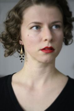 Deco Chandelier Earrings Black Glass Beaded by ChatterBlossom, $20.00
