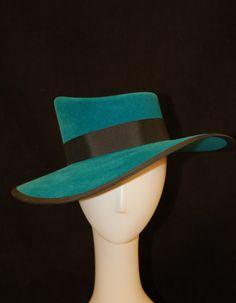 90586353dc8 Hat - Womens Hand Blocked Teal Velour Fur Felt Sloped Crown Wide Brimmed Hat  with Black
