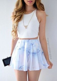 White crop top, necklaces, light blue skirt, summer, cute