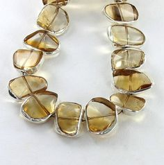 STERLING SILVER RIMMED CITRINE FREE FROM BEADS 10 PIECES from New World Gems
