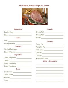Christmas Potluck Signup Printable