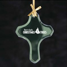 Spread joy during the holiday season with Customized Cross Shaped Jade Glass Ornaments! #crossshaped #promotionalproduct #xmastreedecor