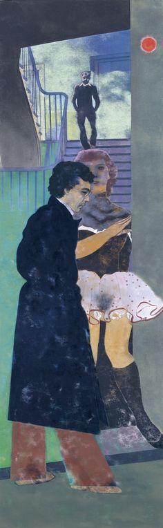 Visto Museo Thyssen 23/10/13 Ronald B. KITAJ. El griego de Esmirna (Nikos) 1976-1977 Óleo sobre lienzo 243,8 x 76,2 cm Museo Thyssen-Bornemisza, Madrid ((autor bajando escaleras. Siempre hay una hº))