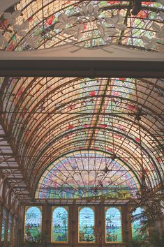 Art nouveau winter garden : dome in stained glass; Antwerp, Belgium Add it to your #BucketList Plan your trip to #Antwerp #Belgium visit www.cityisyours.com