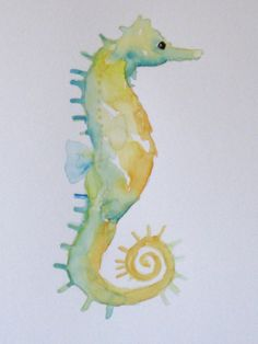 ORIGINAL Watercolor Seahorse by RaceStreetStudios on Etsy, $15.00