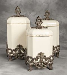 Tuscan Kitchen Canisters Ceramic Cream and Iron canisters. I have these and just love all of Gracious Goods!!!!