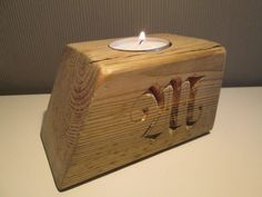 Tealight Candle Holder with handcarved letters wood by halfron